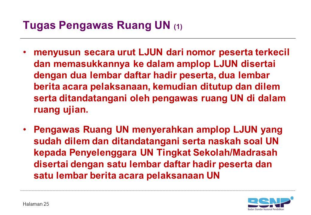 Tugas Pengawas Ruang UN (1) menyusun secara urut LJUN dari nomor peserta terkecil dan memasukkannya ke dalam amplop LJUN disertai dengan dua lembar da