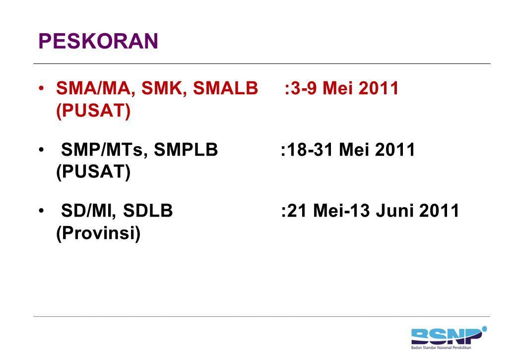 PESKORAN SMA/MA, SMK, SMALB :3-9 Mei 2011 (PUSAT) SMP/MTs, SMPLB :18-31 Mei 2011 (PUSAT) SD/MI, SDLB :21 Mei-13 Juni 2011 (Provinsi)