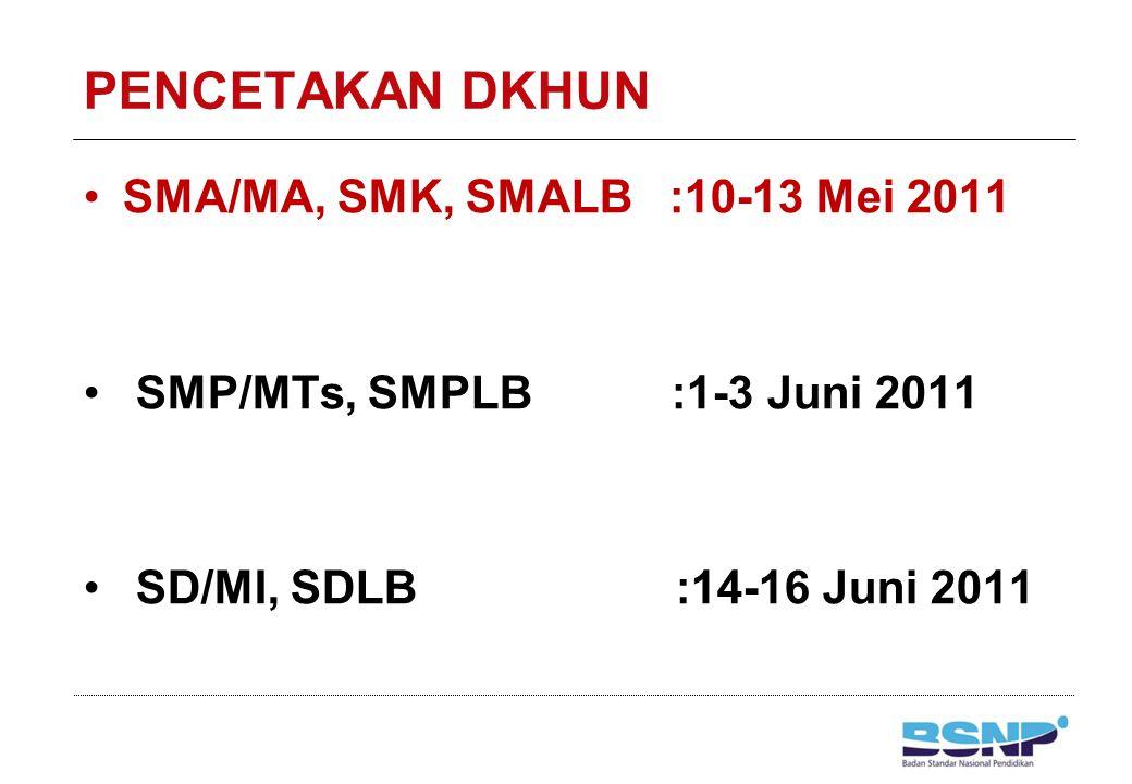 PENCETAKAN DKHUN SMA/MA, SMK, SMALB :10-13 Mei 2011 SMP/MTs, SMPLB :1-3 Juni 2011 SD/MI, SDLB :14-16 Juni 2011