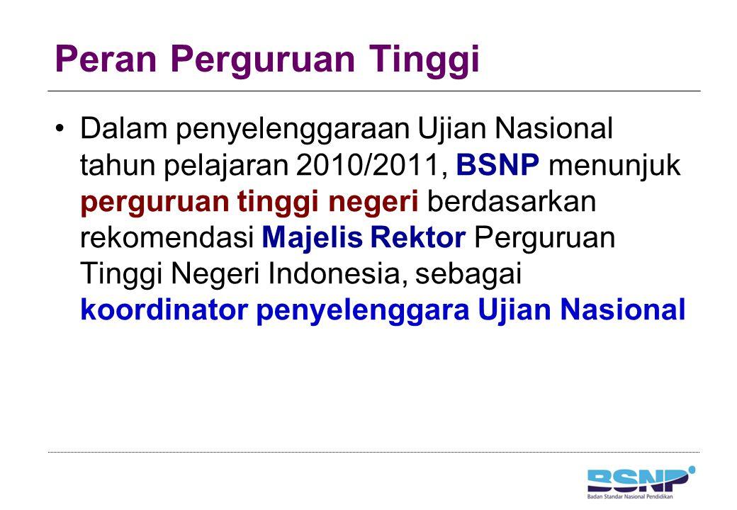 Peran Perguruan Tinggi Dalam penyelenggaraan Ujian Nasional tahun pelajaran 2010/2011, BSNP menunjuk perguruan tinggi negeri berdasarkan rekomendasi M