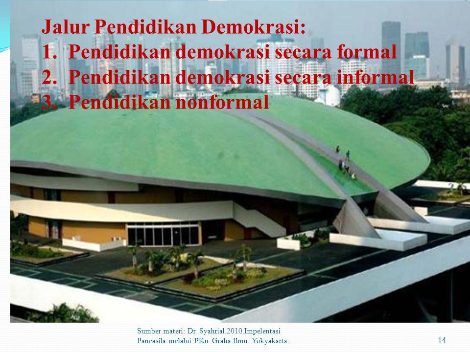 Sumber materi: Dr. Syahrial.2010.Impelentasi Pancasila melalui PKn. Graha Ilmu. Yokyakarta.14 Jalur Pendidikan Demokrasi: 1.Pendidikan demokrasi secar