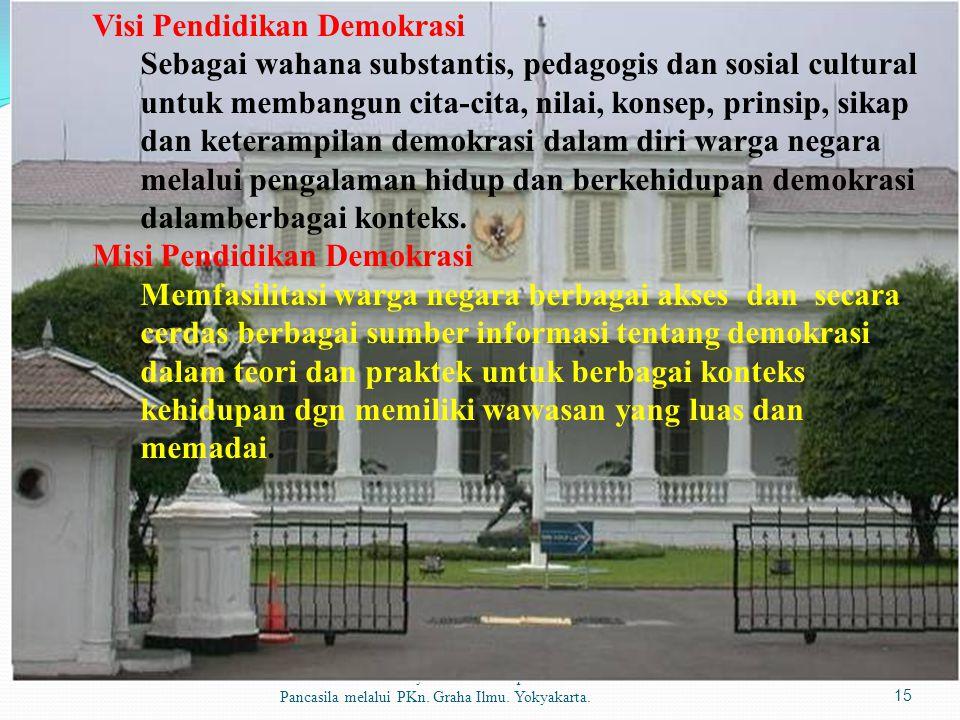 Sumber materi: Dr. Syahrial.2010.Impelentasi Pancasila melalui PKn. Graha Ilmu. Yokyakarta.15 Visi Pendidikan Demokrasi Sebagai wahana substantis, ped
