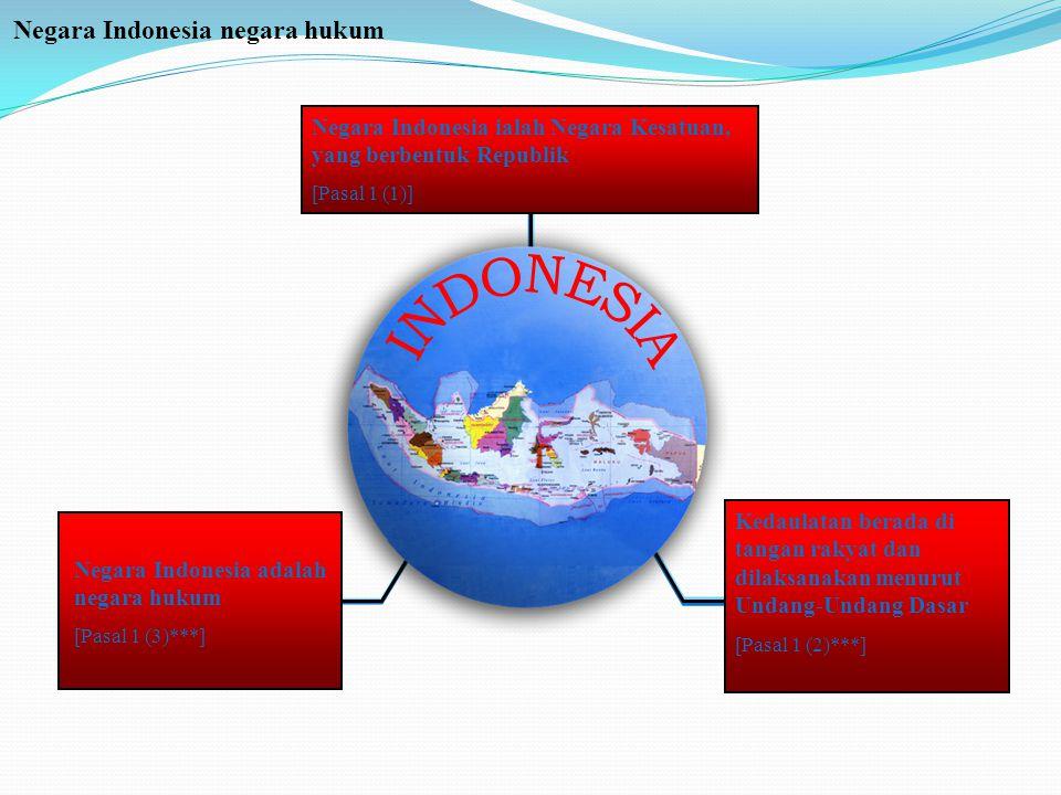 Negara Indonesia negara hukum Negara Indonesia ialah Negara Kesatuan, yang berbentuk Republik [Pasal 1 (1)] Negara Indonesia adalah negara hukum [Pasa