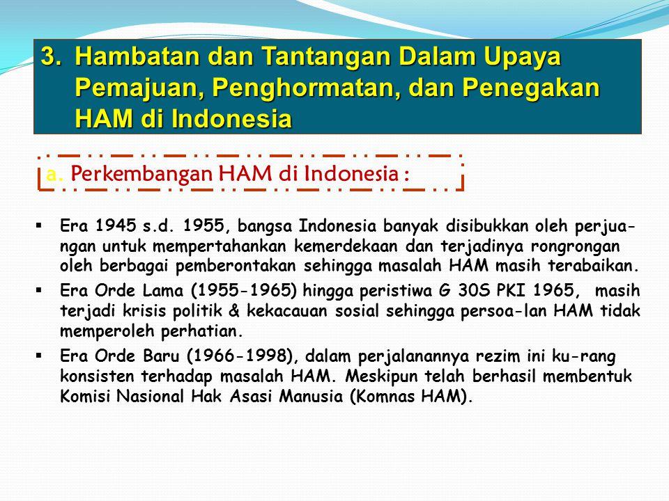 3.Hambatan dan Tantangan Dalam Upaya Pemajuan, Penghormatan, dan Penegakan HAM di Indonesia a. Perkembangan HAM di Indonesia :  Era 1945 s.d. 1955, b