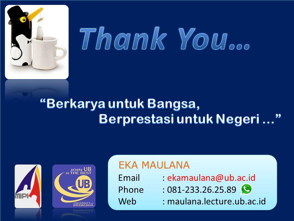 EKA MAULANA Email: ekamaulana@ub.ac.id Phone: 081-233.26.25.89 Web: maulana.lecture.ub.ac.id