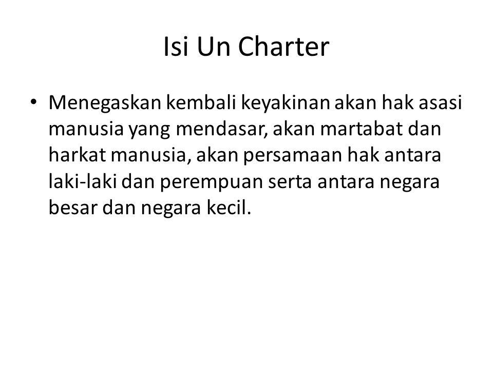 Isi Un Charter Menegaskan kembali keyakinan akan hak asasi manusia yang mendasar, akan martabat dan harkat manusia, akan persamaan hak antara laki-lak