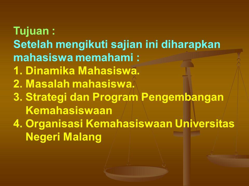 Organisasi kemahasiswaan yang ada belum sepenuhnya dapat menampung dan menyalurkan kebutuhan, minat dan aspirasi mahasiswa.