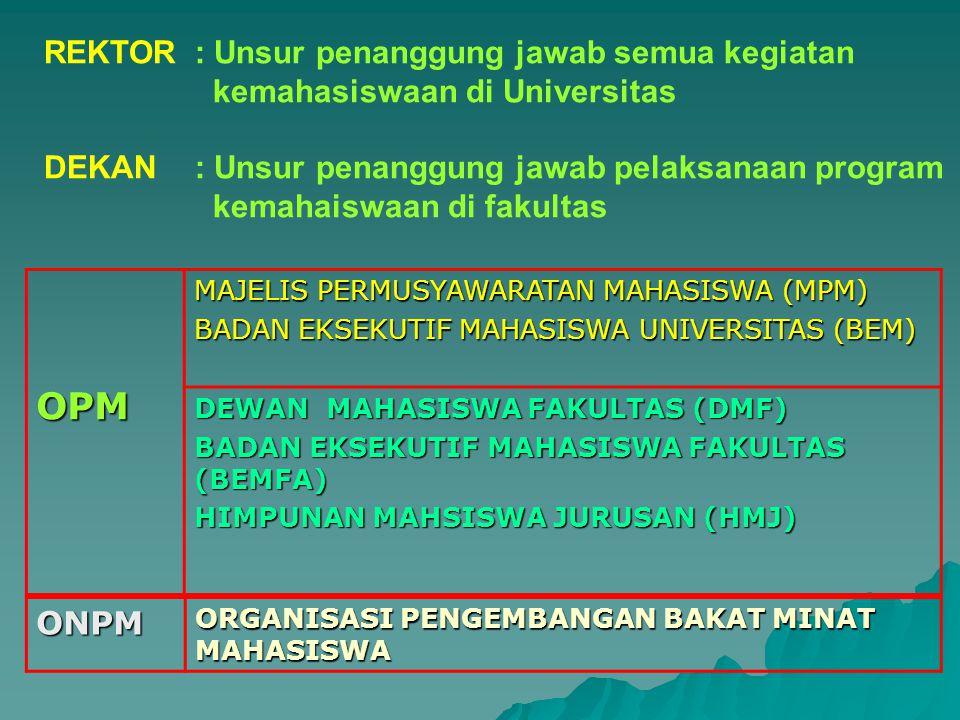 REKTOR : Unsur penanggung jawab semua kegiatan kemahasiswaan di Universitas DEKAN: Unsur penanggung jawab pelaksanaan program kemahaiswaan di fakultas