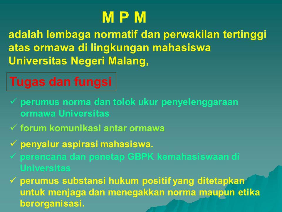 adalah lembaga normatif dan perwakilan tertinggi atas ormawa di lingkungan mahasiswa Universitas Negeri Malang, perumus norma dan tolok ukur penyeleng