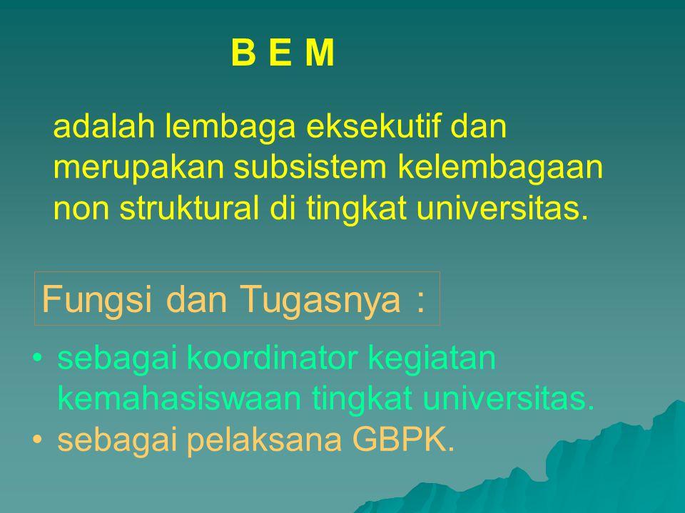 sebagai koordinator kegiatan kemahasiswaan tingkat universitas. sebagai pelaksana GBPK. B E M adalah lembaga eksekutif dan merupakan subsistem kelemba