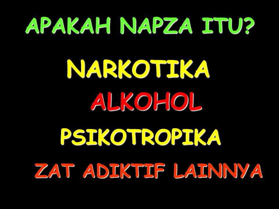APAKAH NAPZA ITU? NARKOTIKA PSIKOTROPIKA ZAT ADIKTIF LAINNYA ALKOHOL
