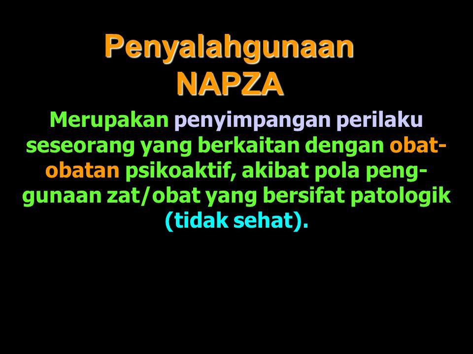Penyalahgunaan NAPZA Merupakan penyimpangan perilaku seseorang yang berkaitan dengan obat- obatan psikoaktif, akibat pola peng- gunaan zat/obat yang b