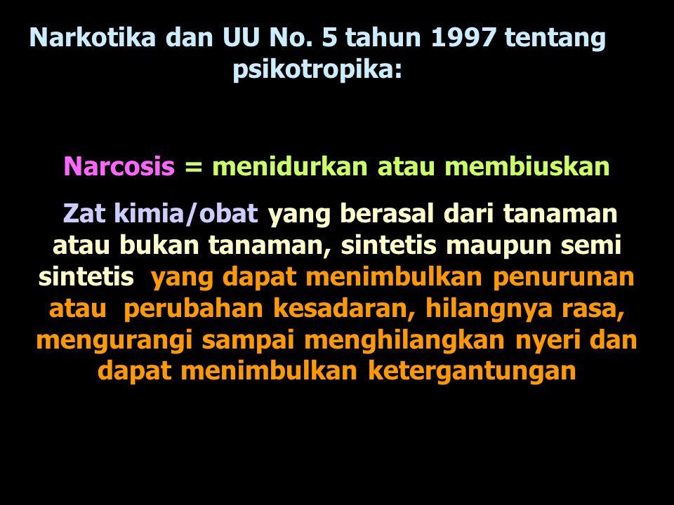 Narkotika dan UU No. 5 tahun 1997 tentang psikotropika: Narcosis = menidurkan atau membiuskan Zat kimia/obat yang berasal dari tanaman atau bukan tana