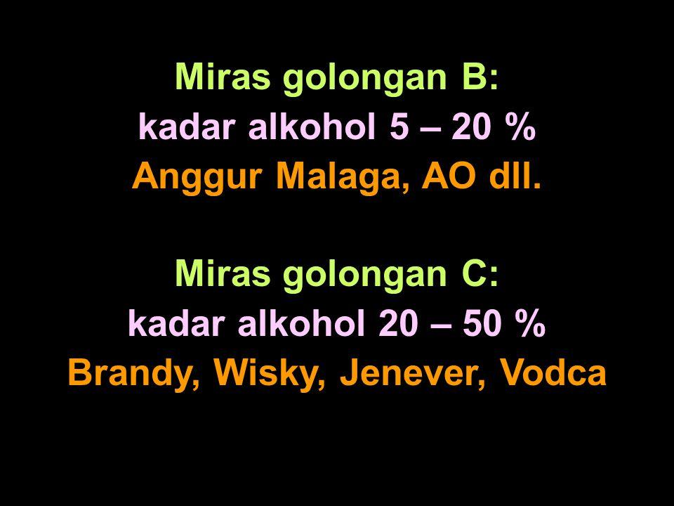 Miras golongan B: kadar alkohol 5 – 20 % Anggur Malaga, AO dll. Miras golongan C: kadar alkohol 20 – 50 % Brandy, Wisky, Jenever, Vodca