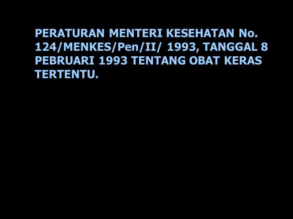 PERATURAN MENTERI KESEHATAN No. 124/MENKES/Pen/II/ 1993, TANGGAL 8 PEBRUARI 1993 TENTANG OBAT KERAS TERTENTU.