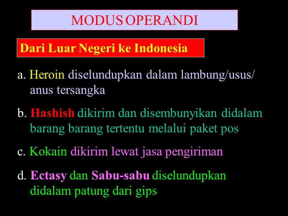 MODUS OPERANDI DariDari Dari Luar Negeri ke Indonesia a. Heroin diselundupkan dalam lambung/usus/ anus tersangka b. Hashish dikirim dan disembunyikan