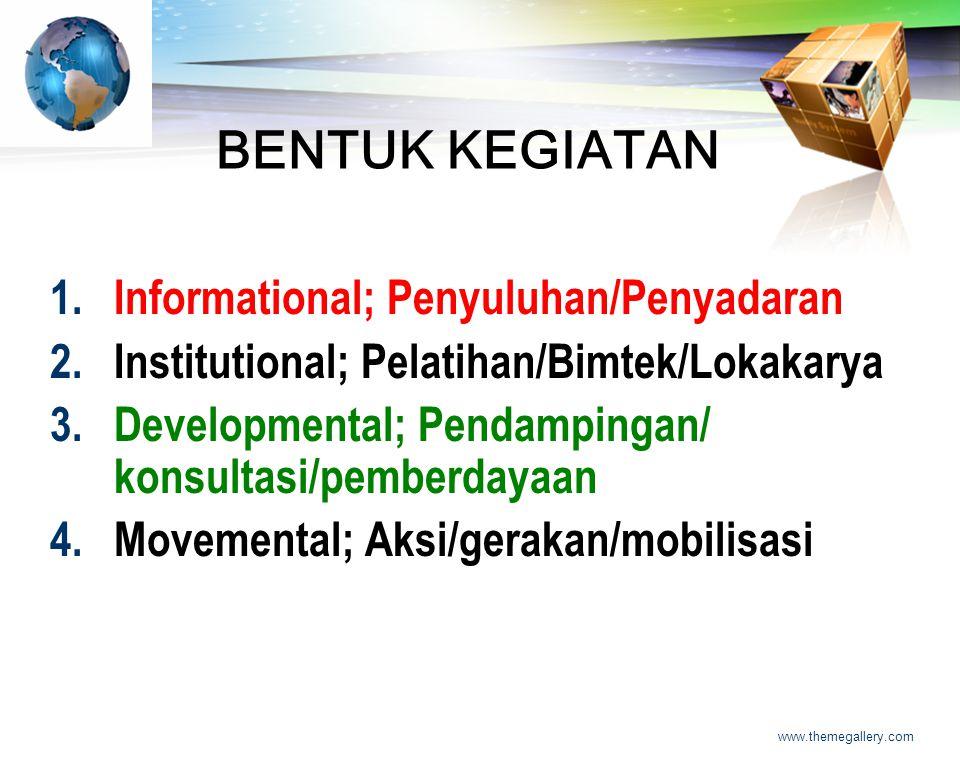 LOGO www.themegallery.com BENTUK KEGIATAN 1.Informational; Penyuluhan/Penyadaran 2.Institutional; Pelatihan/Bimtek/Lokakarya 3.Developmental; Pendampingan/ konsultasi/pemberdayaan 4.Movemental; Aksi/gerakan/mobilisasi
