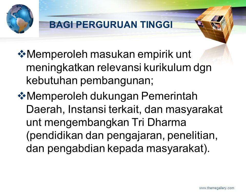 LOGO www.themegallery.com BAGI PERGURUAN TINGGI MMemperoleh masukan empirik unt meningkatkan relevansi kurikulum dgn kebutuhan pembangunan; MMempe