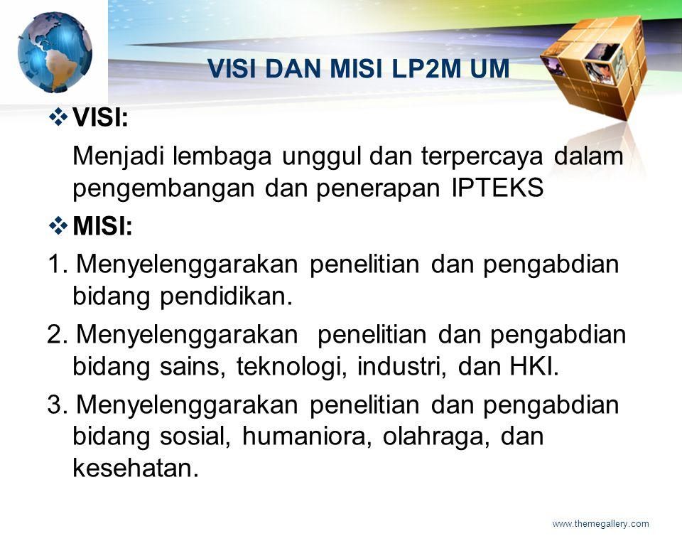 LOGO www.themegallery.com VISI DAN MISI LP2M UM  VISI: Menjadi lembaga unggul dan terpercaya dalam pengembangan dan penerapan IPTEKS  MISI: 1. Menye