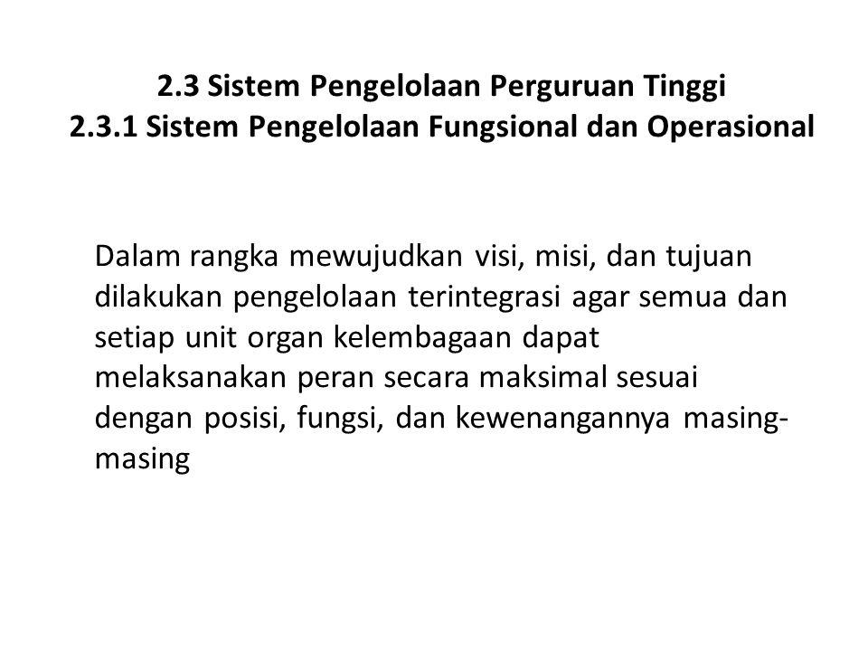 2.3 Sistem Pengelolaan Perguruan Tinggi 2.3.1 Sistem Pengelolaan Fungsional dan Operasional Dalam rangka mewujudkan visi, misi, dan tujuan dilakukan p