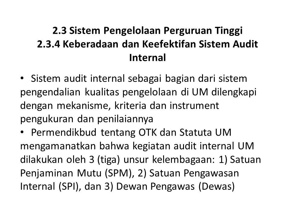 2.3 Sistem Pengelolaan Perguruan Tinggi 2.3.4 Keberadaan dan Keefektifan Sistem Audit Internal Sistem audit internal sebagai bagian dari sistem pengen