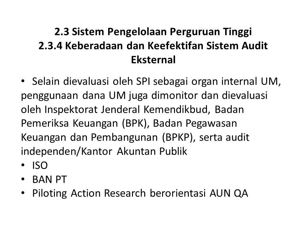 2.3 Sistem Pengelolaan Perguruan Tinggi 2.3.4 Keberadaan dan Keefektifan Sistem Audit Eksternal Selain dievaluasi oleh SPI sebagai organ internal UM,