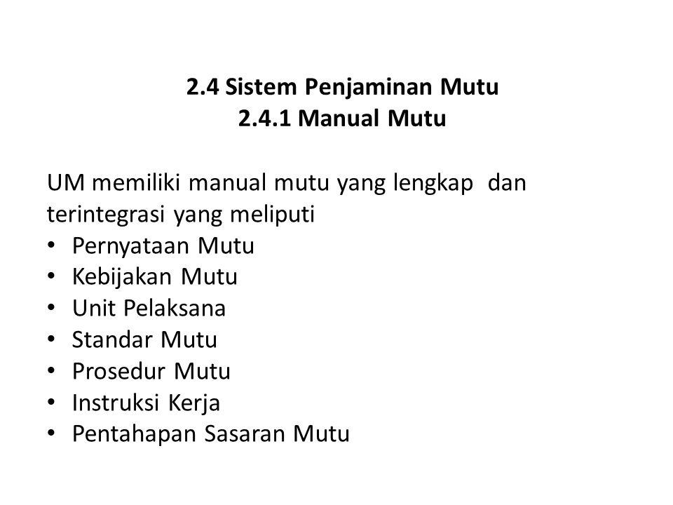 2.4 Sistem Penjaminan Mutu 2.4.1 Manual Mutu UM memiliki manual mutu yang lengkap dan terintegrasi yang meliputi Pernyataan Mutu Kebijakan Mutu Unit P
