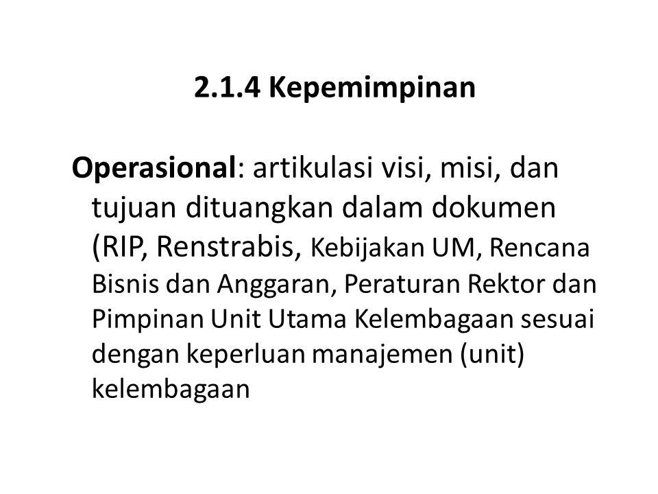2.1.4 Kepemimpinan Operasional: artikulasi visi, misi, dan tujuan dituangkan dalam dokumen (RIP, Renstrabis, Kebijakan UM, Rencana Bisnis dan Anggaran