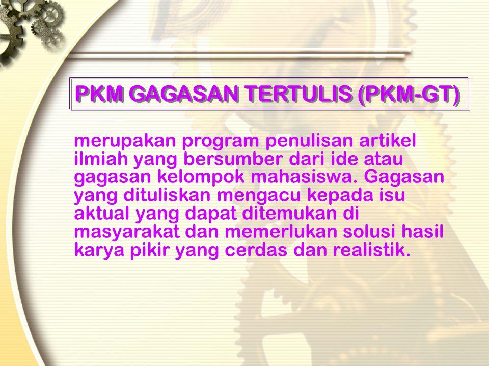 PKM ARTIKEL ILMIAH (PKM-AI) oMerupakan program penulisan artikel ilmiah yang bersumber dari suatu kegiatan mahasiswa dalam pendidikan, penelitian atau