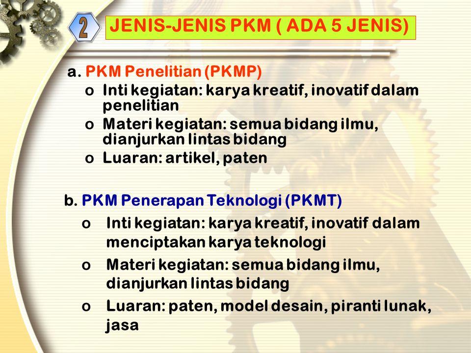 JENIS-JENIS PKM ( ADA 5 JENIS) a.