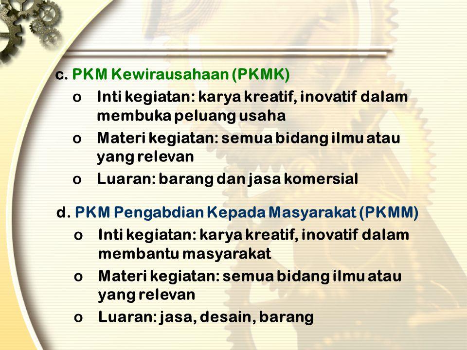 JENIS-JENIS PKM ( ADA 5 JENIS) a. PKM Penelitian (PKMP) oInti kegiatan: karya kreatif, inovatif dalam penelitian oMateri kegiatan: semua bidang ilmu,