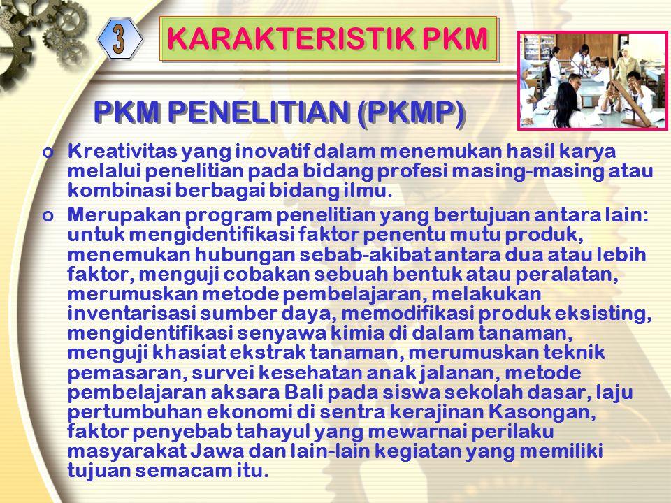 e. PKM Penulisan Ilmiah (PKMI-AI) oInti kegiatan: karya kreatif, dalam penulisan artikel ilmiah oMateri kegiatan: karya kelompok yang telah dilaksanak
