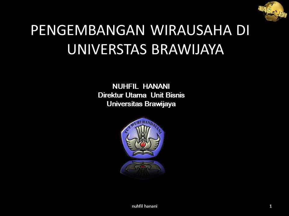 PENGEMBANGAN WIRAUSAHA DI UNIVERSTAS BRAWIJAYA NUHFIL HANANI Direktur Utama Unit Bisnis Universitas Brawijaya nuhfil hanani1