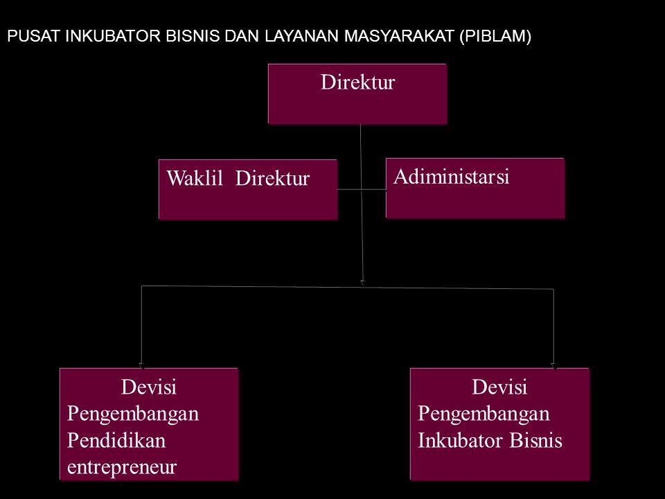 Direktur Adiministarsi Waklil Direktur Devisi Pengembangan Pendidikan entrepreneur Devisi Pengembangan Inkubator Bisnis PUSAT INKUBATOR BISNIS DAN LAYANAN MASYARAKAT (PIBLAM)