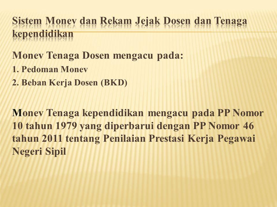 Monev Tenaga Dosen mengacu pada: 1. Pedoman Monev 2. Beban Kerja Dosen (BKD) Monev Tenaga kependidikan mengacu pada PP Nomor 10 tahun 1979 yang diperb