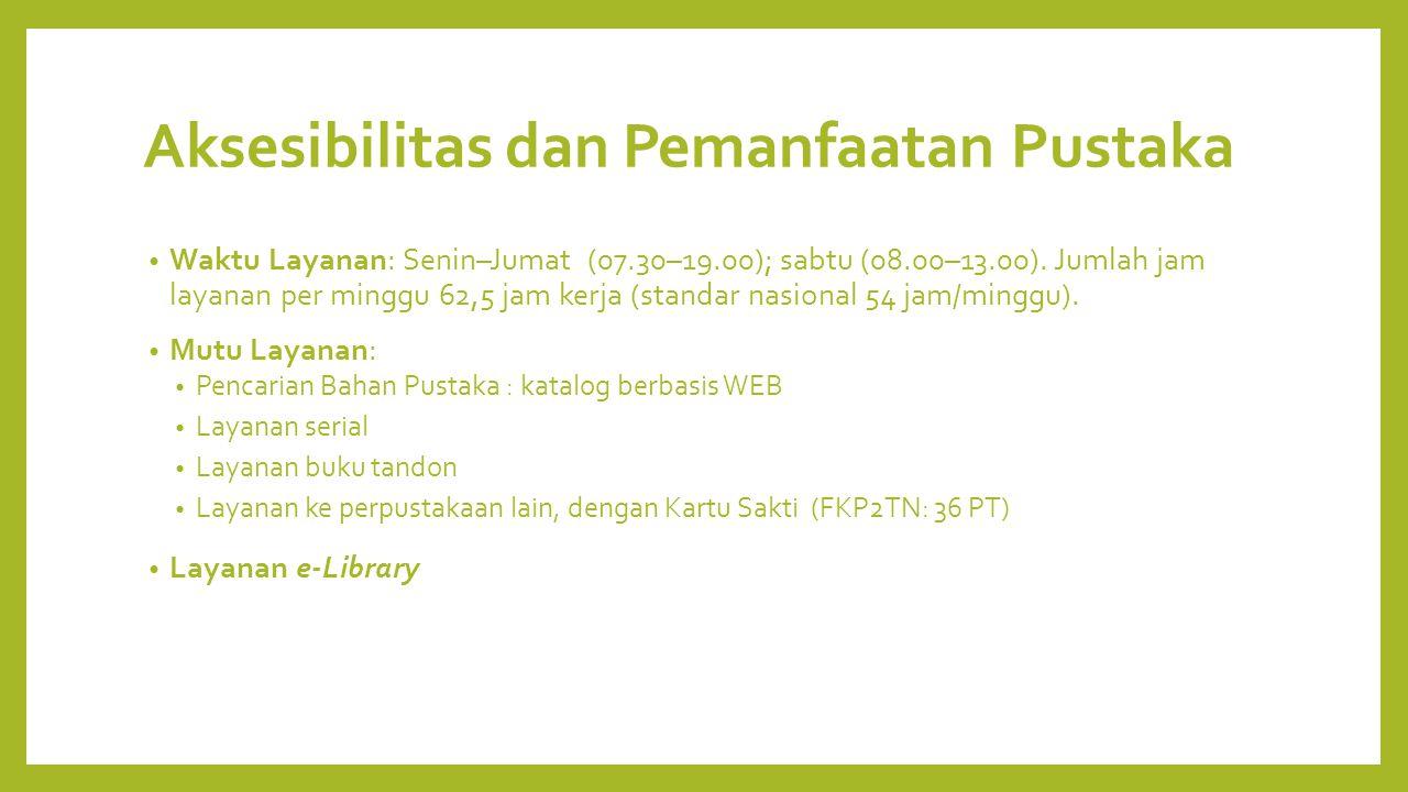 Aksesibilitas dan Pemanfaatan Pustaka Waktu Layanan: Senin–Jumat (07.30–19.00); sabtu (08.00–13.00).