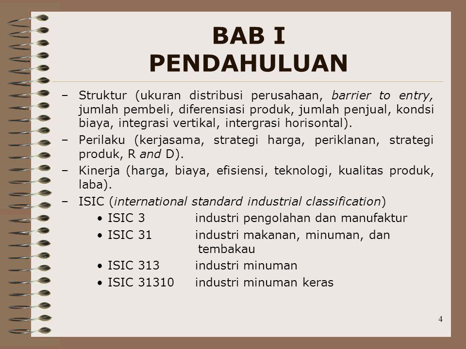 4 BAB I PENDAHULUAN –Struktur (ukuran distribusi perusahaan, barrier to entry, jumlah pembeli, diferensiasi produk, jumlah penjual, kondsi biaya, inte