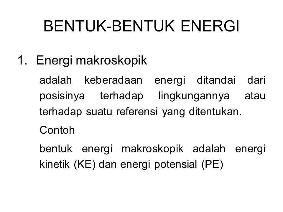 1.Energi makroskopik adalah keberadaan energi ditandai dari posisinya terhadap lingkungannya atau terhadap suatu referensi yang ditentukan. Contoh ben