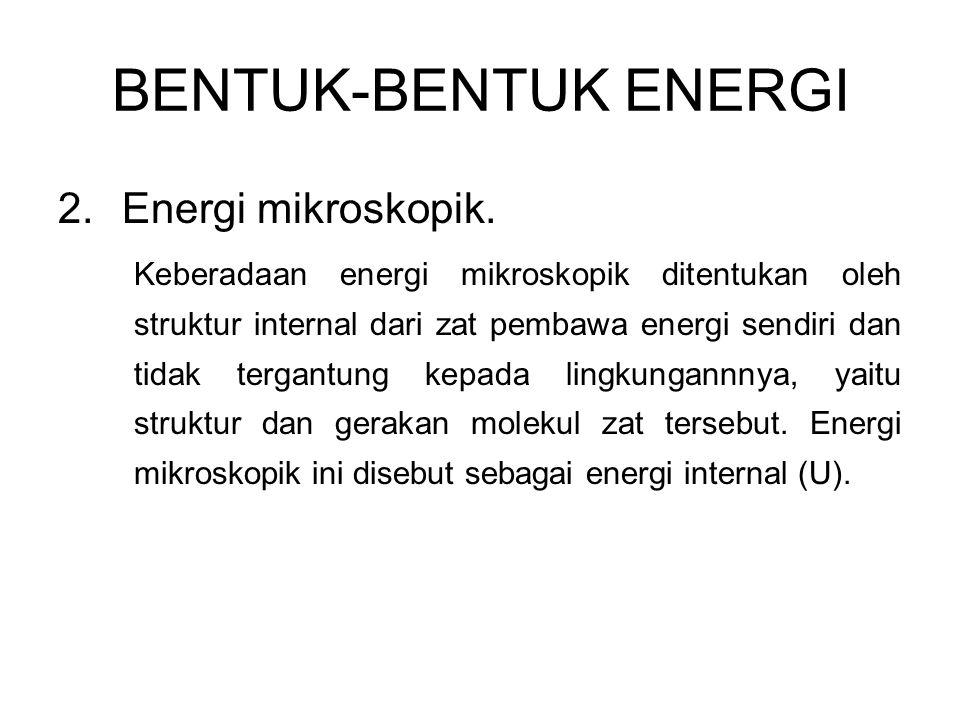 2.Energi mikroskopik. Keberadaan energi mikroskopik ditentukan oleh struktur internal dari zat pembawa energi sendiri dan tidak tergantung kepada ling
