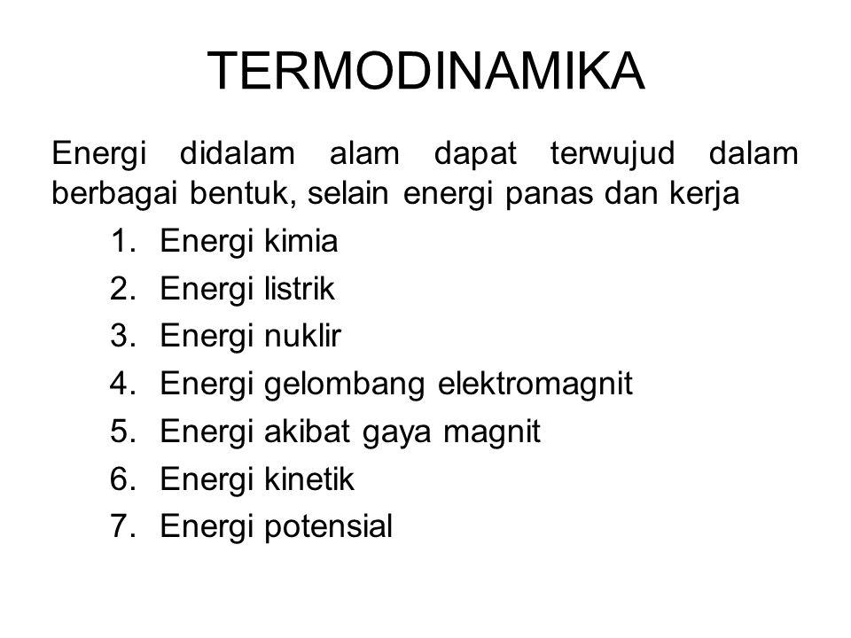 Energi didalam alam dapat terwujud dalam berbagai bentuk, selain energi panas dan kerja 1.Energi kimia 2.Energi listrik 3.Energi nuklir 4.Energi gelom