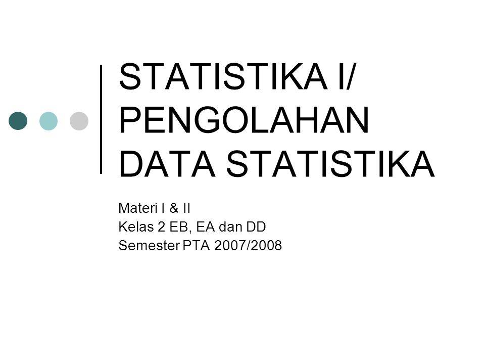 STATISTIKA I/ PENGOLAHAN DATA STATISTIKA Materi I & II Kelas 2 EB, EA dan DD Semester PTA 2007/2008