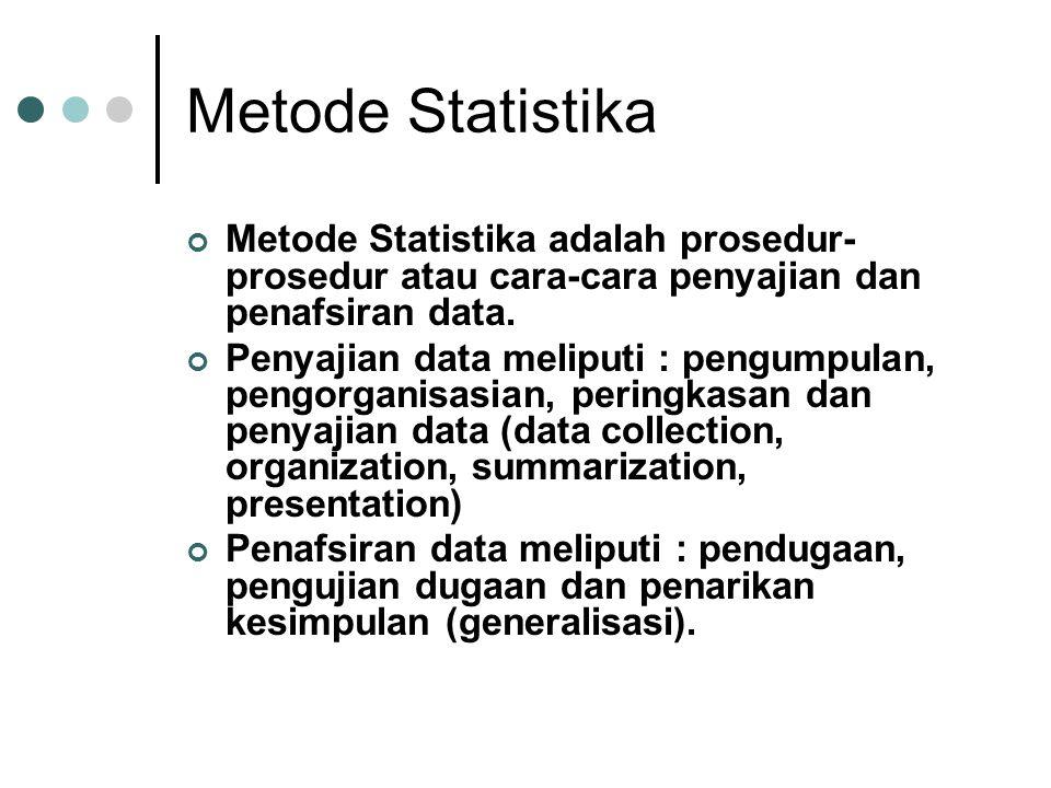 Metode Statistika Metode Statistika adalah prosedur- prosedur atau cara-cara penyajian dan penafsiran data. Penyajian data meliputi : pengumpulan, pen