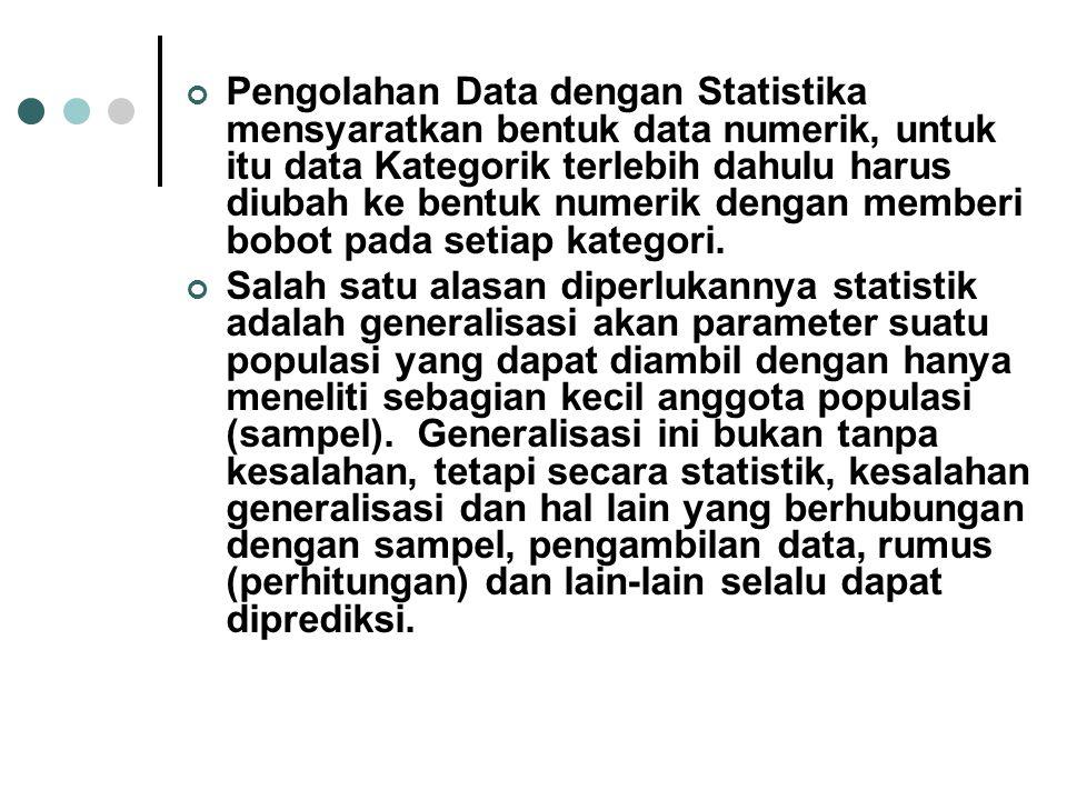 Pengolahan Data dengan Statistika mensyaratkan bentuk data numerik, untuk itu data Kategorik terlebih dahulu harus diubah ke bentuk numerik dengan mem