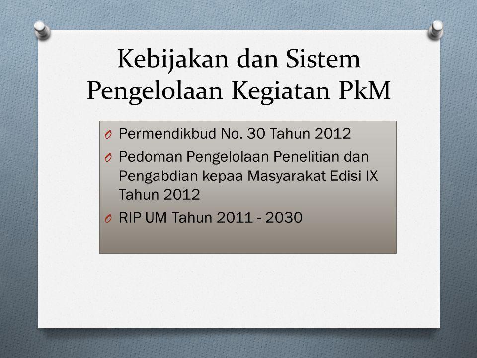 Kebijakan dan Sistem Pengelolaan Kegiatan PkM O Permendikbud No.