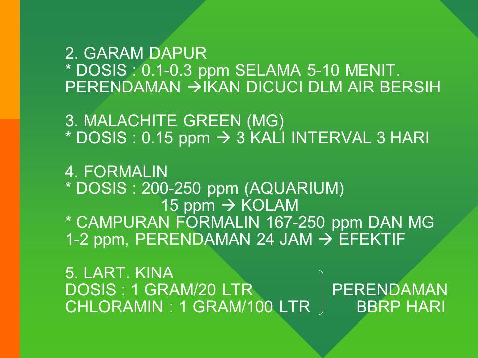 2.GARAM DAPUR * DOSIS : 0.1-0.3 ppm SELAMA 5-10 MENIT.