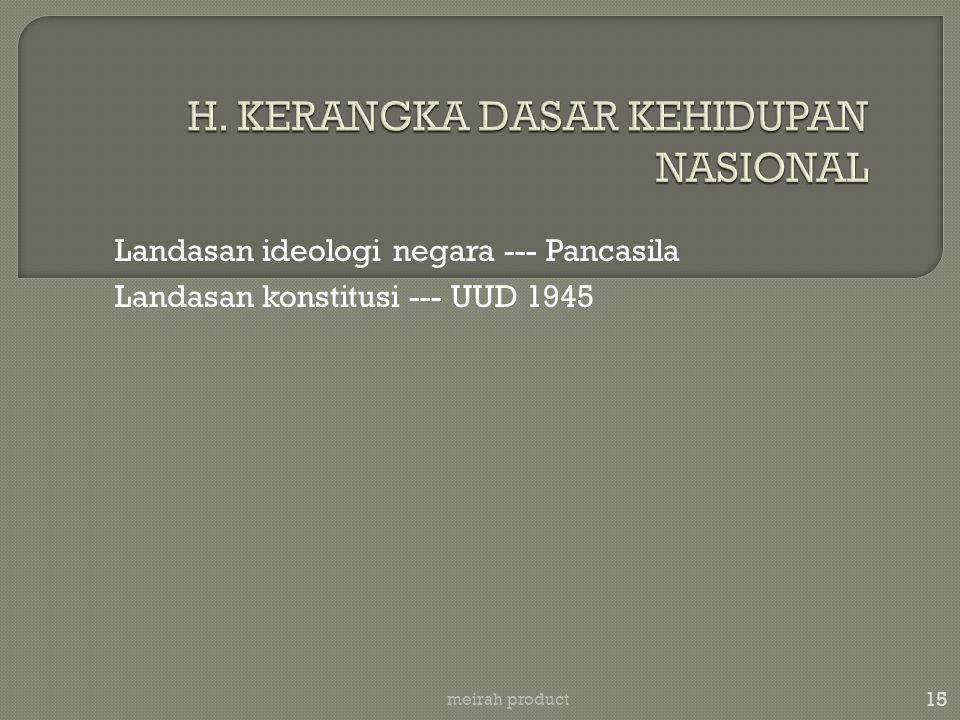 15 meirah product Landasan ideologi negara --- Pancasila Landasan konstitusi --- UUD 1945