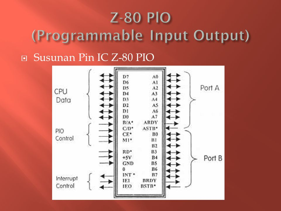  Z-80 PIO terdiri dari dua port, yaitu Port A dan Port B.