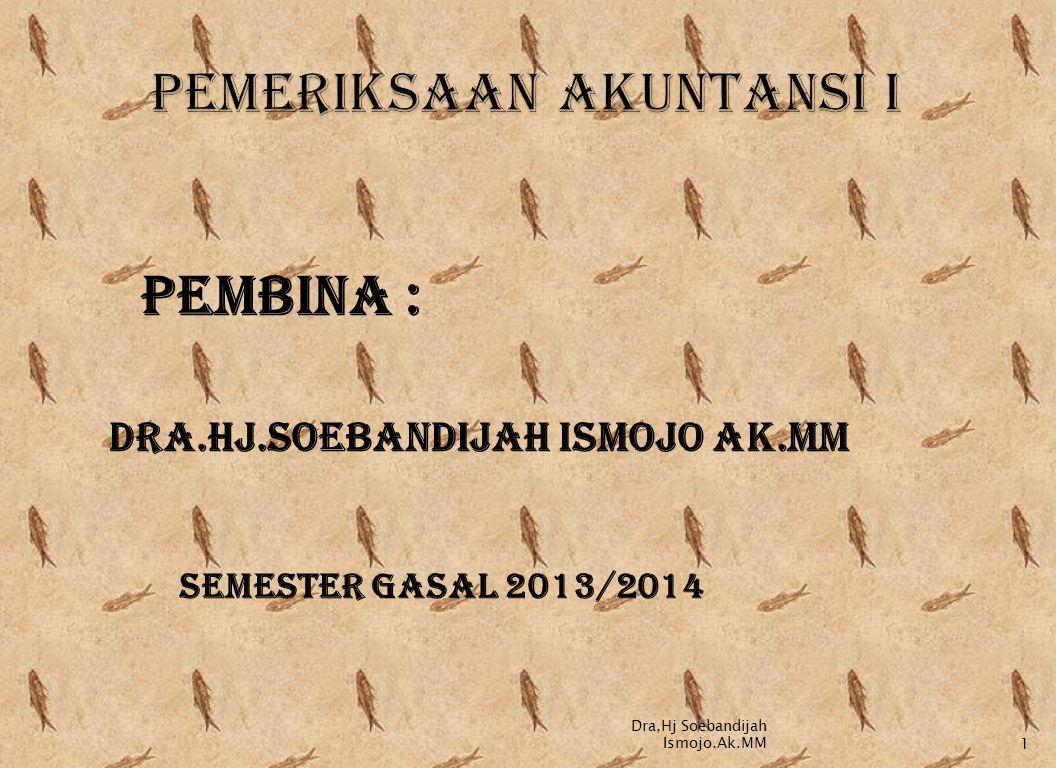 PEMBINA : DRA.HJ.SOEBANDIJAH ISMOJO AK.MM SEMESTER GASAL 2013/2014 Dra,Hj Soebandijah Ismojo.Ak.MM1