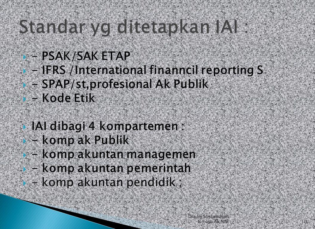  - PSAK/SAK ETAP  - IFRS /International finanncil reporting S  - SPAP/st,profesional Ak Publik  - Kode Etik  IAI dibagi 4 kompartemen :  - komp