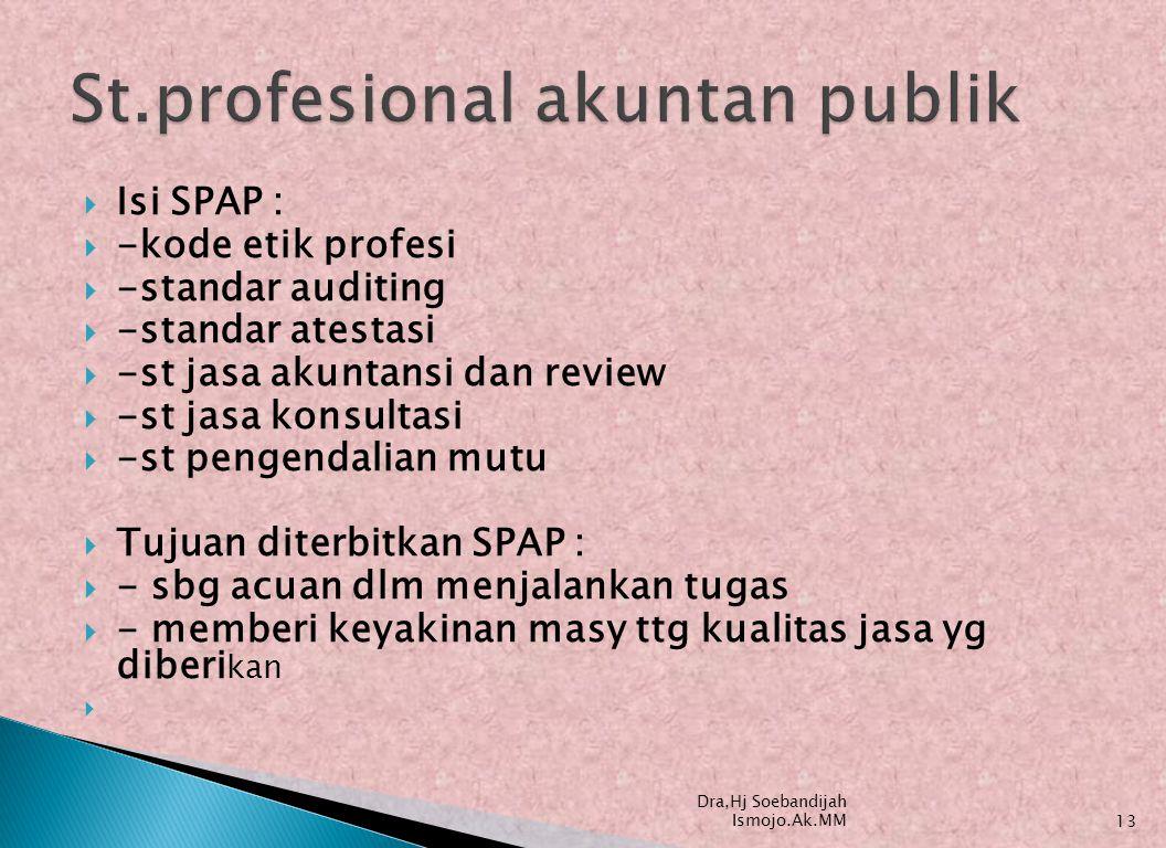  Isi SPAP :  -kode etik profesi  -standar auditing  -standar atestasi  -st jasa akuntansi dan review  -st jasa konsultasi  -st pengendalian mut